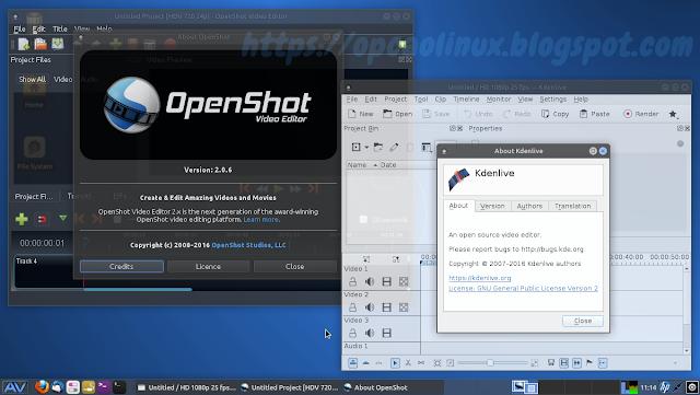 OpenShot e Kdenlive no AV Linux 2016