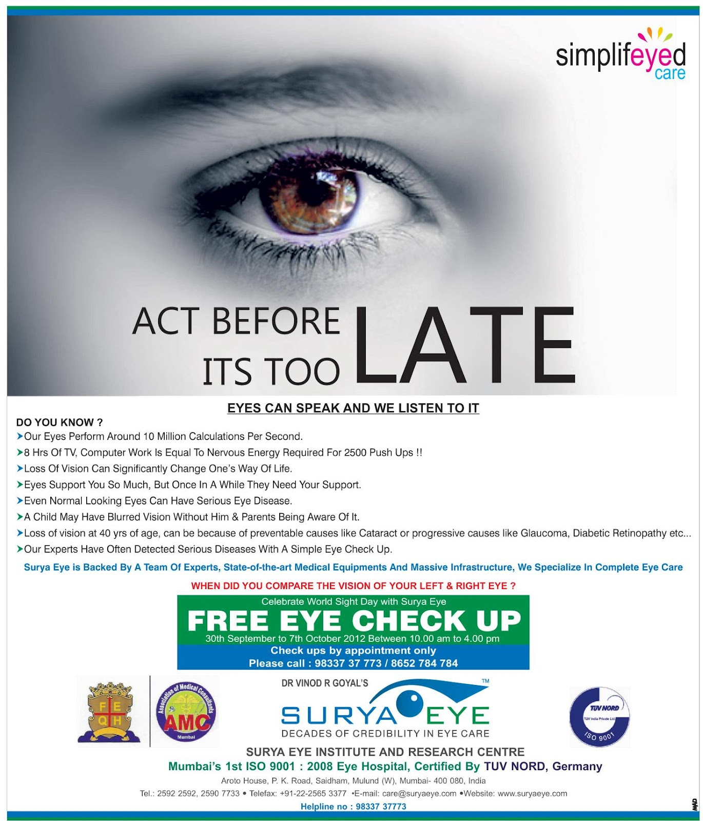 00ce4d32076 PNRNEWS.COM  free eye check up camp at Surya Eye - Mulund west