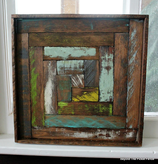 log cabin square, reclaimed wood, lath, old schoolhouse, art, on the wall, minwax stain, http://bec4-beyondthepicketfence.blogspot.com/2016/05/reclaimed-wood-log-cabin-square.html