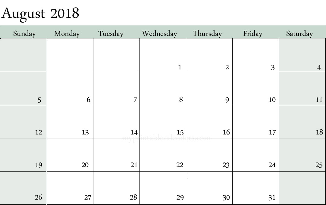 Free August 2018 Blank Calendar Printable Templates - Blank Calendar - Printable Blank Calendar