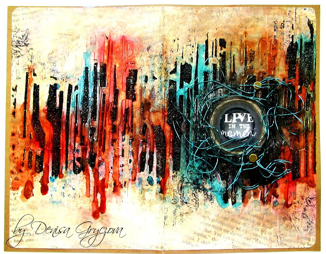 Double mixed media art journal pages by Denisa