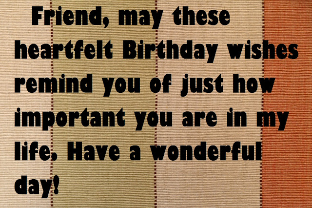 Friend, may these heartfelt Birthday wishes remind you of just how important you are in my life. Have a wonderful day!