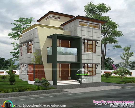 Low budget modern house architecture 3d rendering