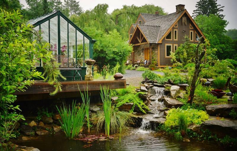 invernadero y jardín de agua