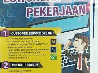 Lowongan Kerja Padang : Customer Service Desain & Operator Mesin