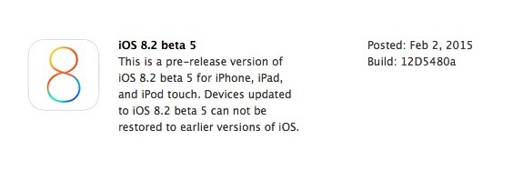 Apple iOS 8.2 Beta 5 Firmware (Build-12D5480a)