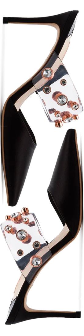SOPHIA WEBSTER black Dina 85 rhinestone embellished mules