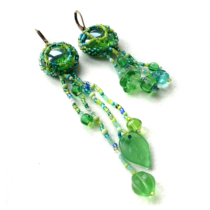 Green freeform beaded earrings - freeform beadwork jewelry - boho earrings - OOAK