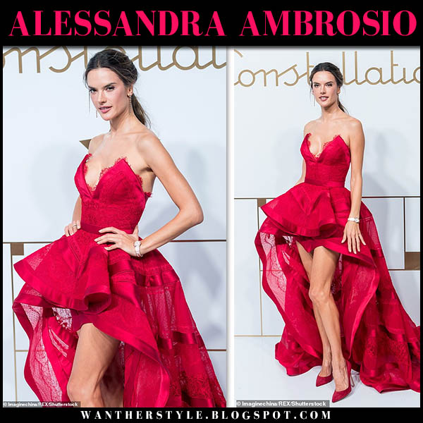 Alessandra Ambrosio in red strapless high-low gown zuhair murad red carpet style october 23