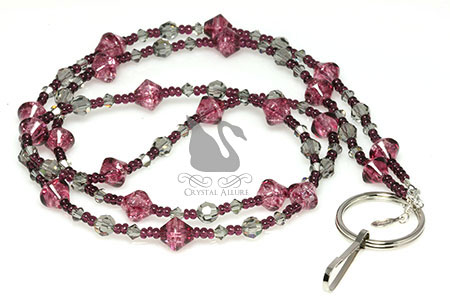 Amethyst Crackle Black Diamond Crystal Beaded Lanyard (L102)