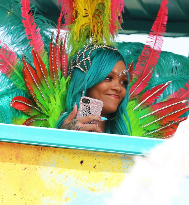 Rihanna in bikini and blue hair at Barbados Carnival