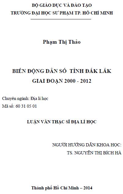 Biến động dân số tỉnh Đắk Lắk giai đoạn 2000 – 2012