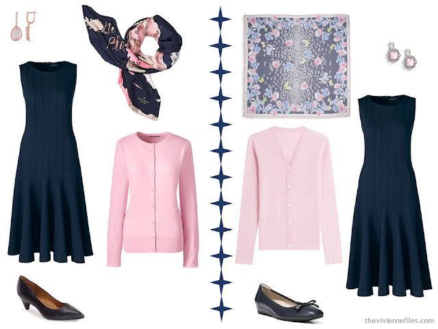 Two ways to wear a navy dress with pale pink