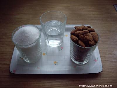 Ingredientes para la receta de almendras garrapiñadas