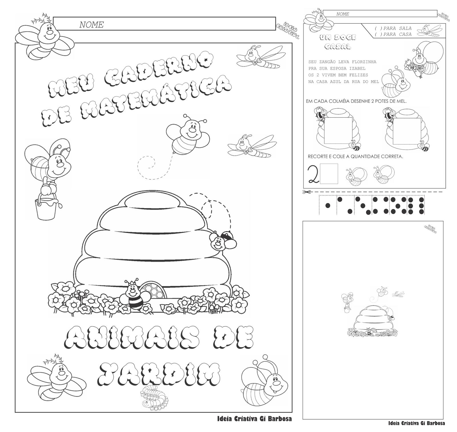 Caderno Matemática Animais de Jardim