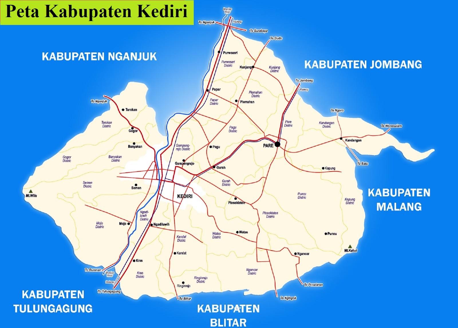 Peta Kabupaten Kediri HD