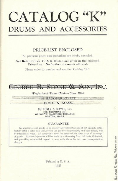 Stone Catalog K - Inside Front Cover