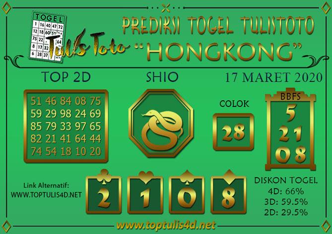 Prediksi Togel HONGKONG TULISTOTO 17 MARET 2020