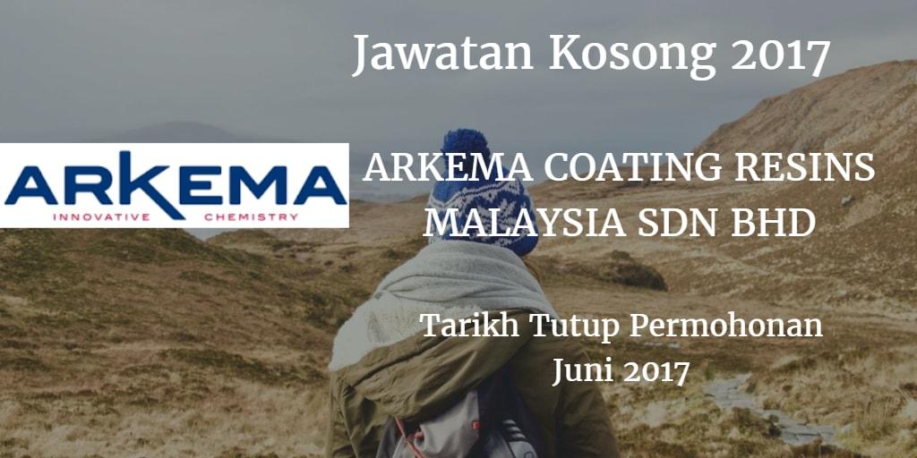 Jawatan Kosong ARKEMA COATING RESINS MALAYSIA SDN. BHD Juni 2017