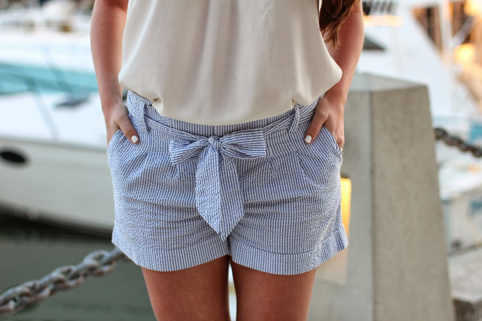 seersucker bow shorts, seersucker shorts, womens seersucker shorts, bow shorts