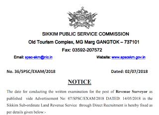 Sikkim SPSC Revenue Surveyor Answer Key Paper 2018 & Question Paper 5/08/2018