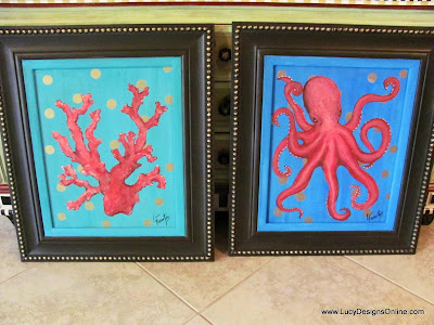 red octopus painting and painting of sea coral