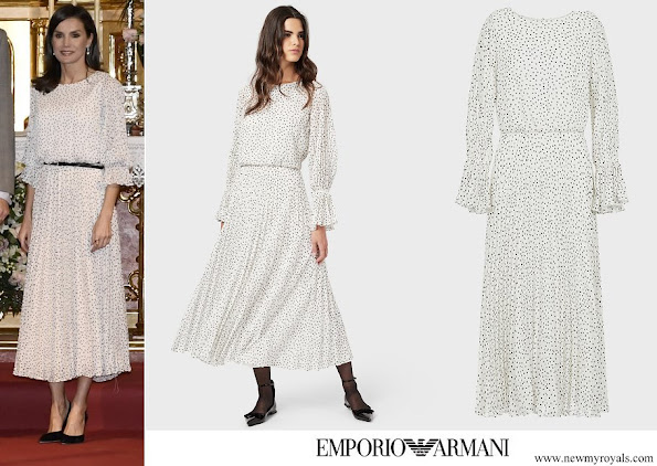 Queen Letizia wore EMPORIO ARMANI Crepon long dress with polka dot jacquard motif