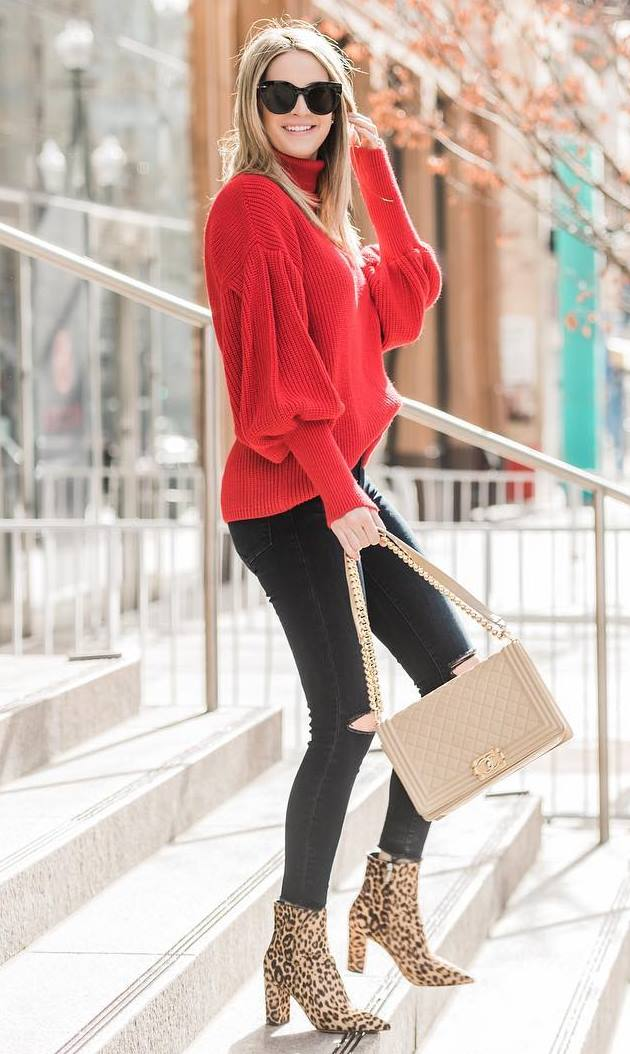 how to style a red sweater : bag + black jeans + leopard boots