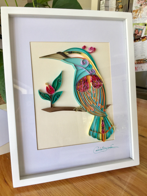 Stylized Kingfisher Paper Art Framed Bird