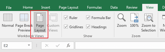 Mengaktifkan Page Layout View di Excel