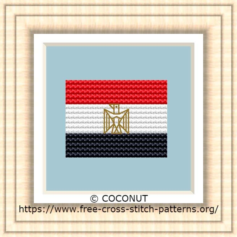 NATIONAL FLAG OF EGYPT CROSS STITCH CHART