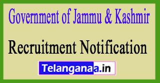 Government of Jammu & Kashmir Recruitment Notification 2017