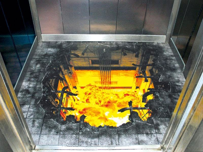 Elevator Optical Illusions Floor Painting Genius Puzzles