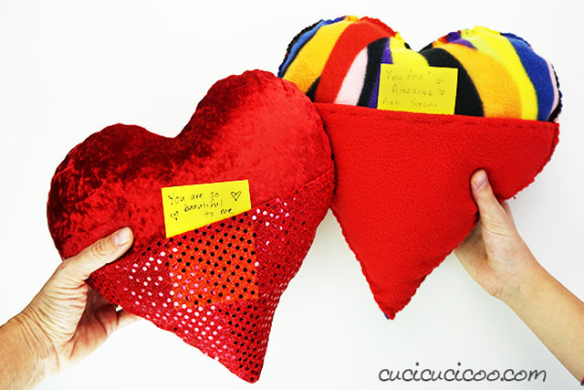 Learn how to sew an adorable little Valentines Day Heart Pocket Pillow. - hand sewn or machine sewn. Tutorial by Cucicucicoo Ecological Living