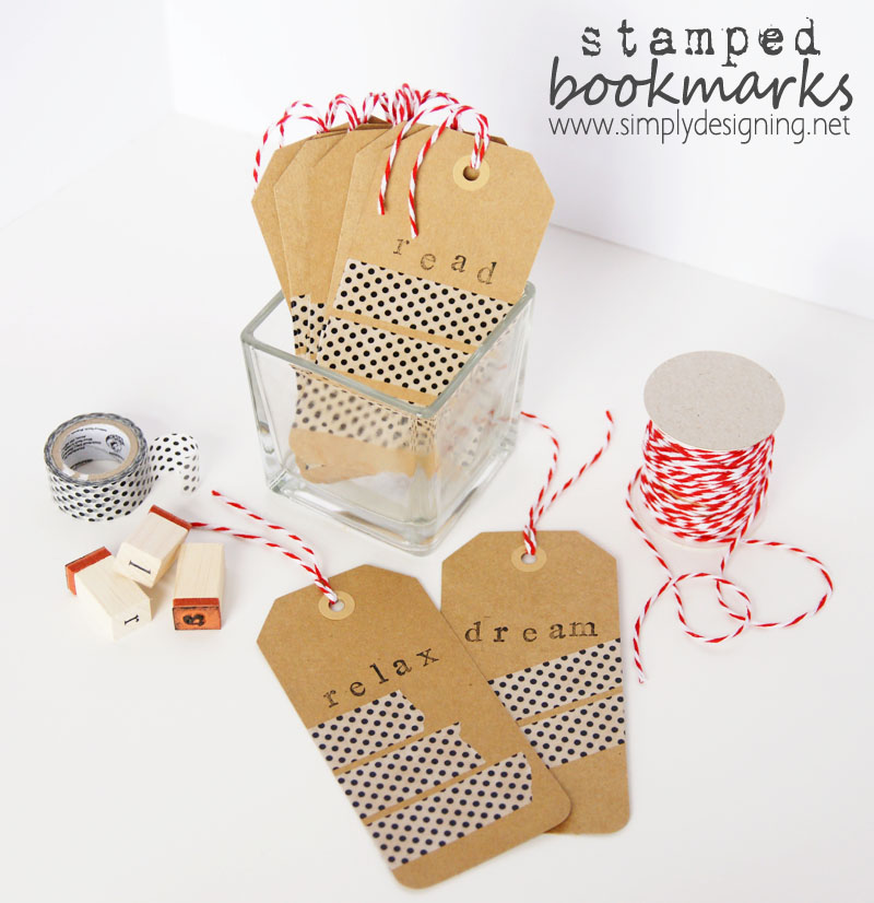 Stamped Washi Tape Bookmarks   cheap diy bookmarks   #washitape #washi #crafts #duckcrafttape