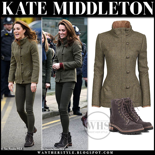Kate Middleton in khaki tweed dubarry jacket, jeans and brown suede chloe liegi ankle boots royal family winter style january 15