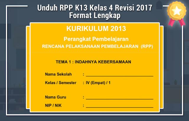 File Pendidikan Unduh RPP K13 Kelas 4 Revisi 2017 Format Lengkap