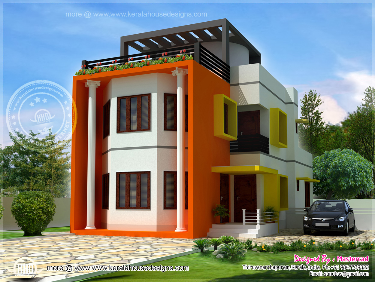 Beautiful modern contemporary villa in 1525 home for Beautifully painted houses in kerala