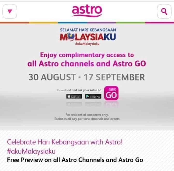 Semua channel Astro free sehingga 17 September 2018!