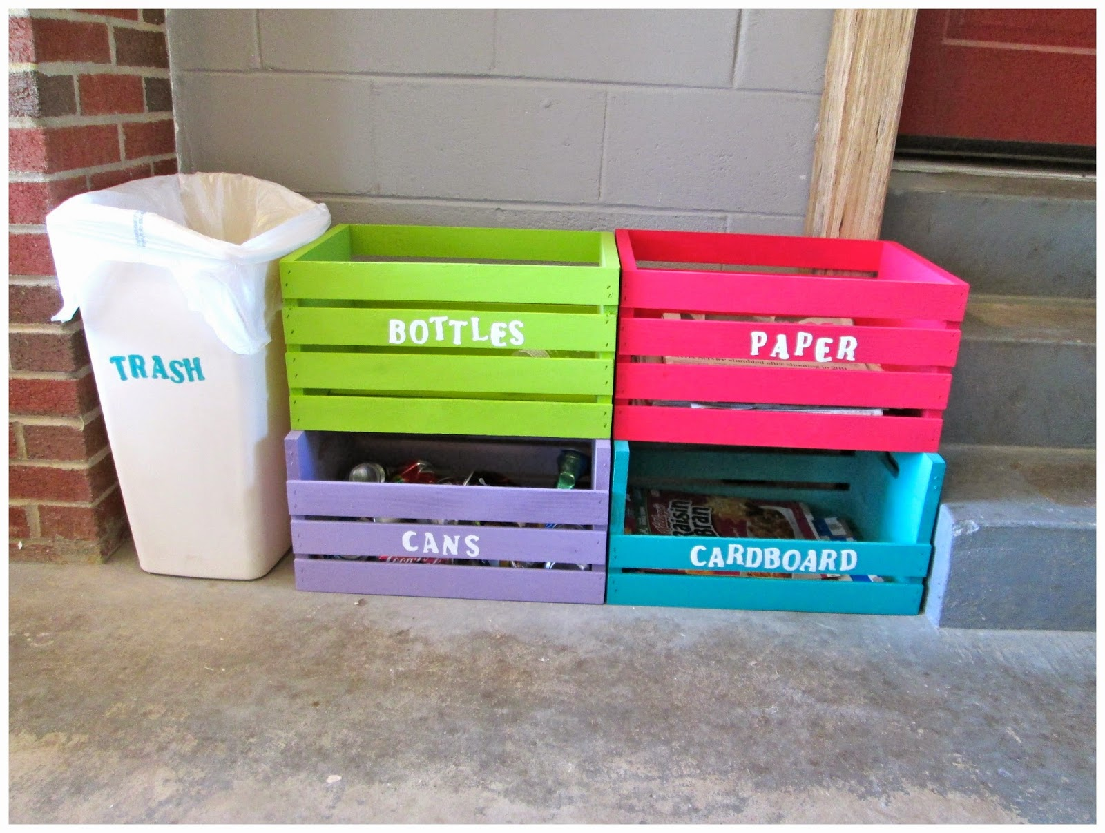 Simple Home Trash Can Laura 39s Plans Easy D I Y Home Recycling Center