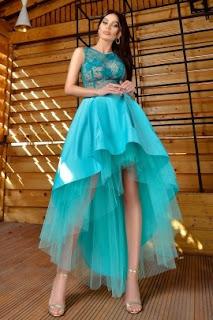 Rochie de seara turquoise Atmosphere asimetrica4b
