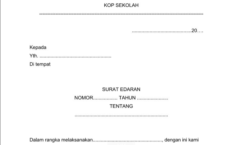 Format Surat Edaran Kepala Sekolah pada Administrasi Tata Usaha Sekolah(TU)