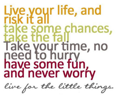 quotes about live you life: Live. Your life, and risk it all take some chances, take some chances, take the fall take your time, no need to hurry have some fun, and never worry live for the little things.
