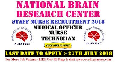 NBRC Staff Nurse Recruitment 2018