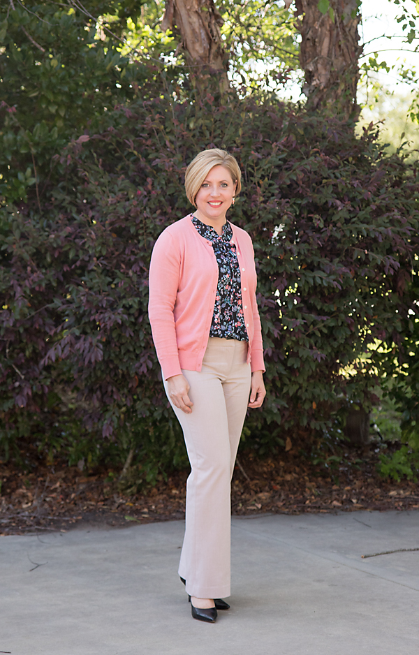 coral cardigan with floral shirt
