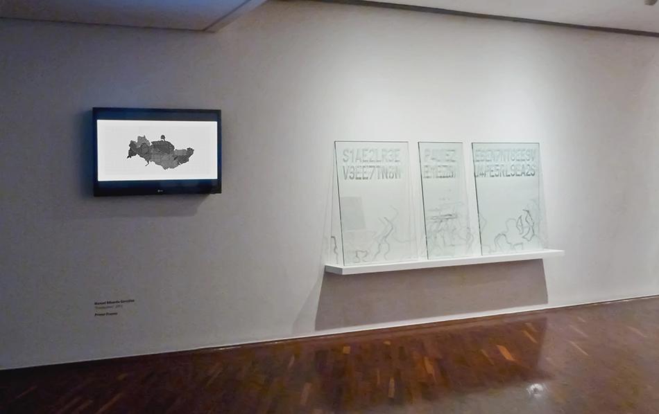 Vista de sala de la instalación Traslaciones de Manuel Eduardo González presentada en el Salón Jóvenes con FIA