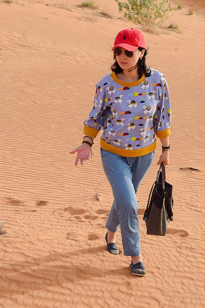 Bluza uszyta z wykroju Burda 08/2013 i pustynny off-road Dubaj