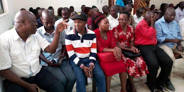 Hon Teddy Mwambire with his family and friends at Malindi high court for election petition judgement. PHOTO | Robert Chengo