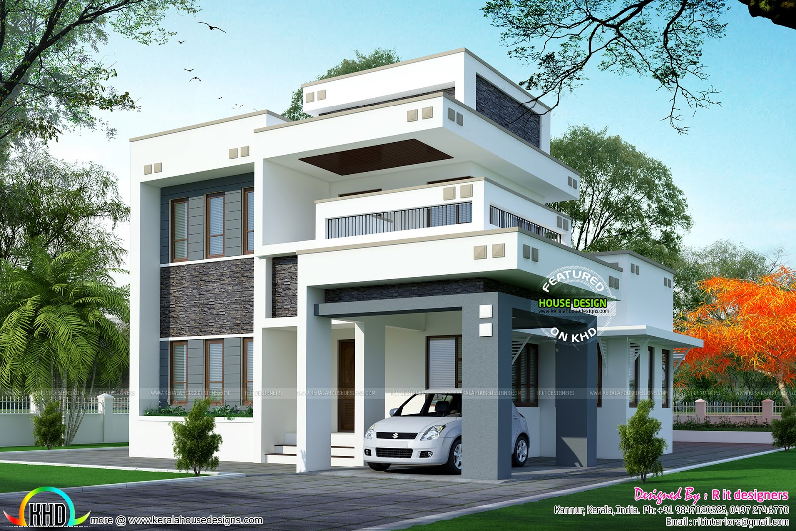 1800 sq ft floor 3 bedroom home with floor plan kerala for Two floor house plans in kerala