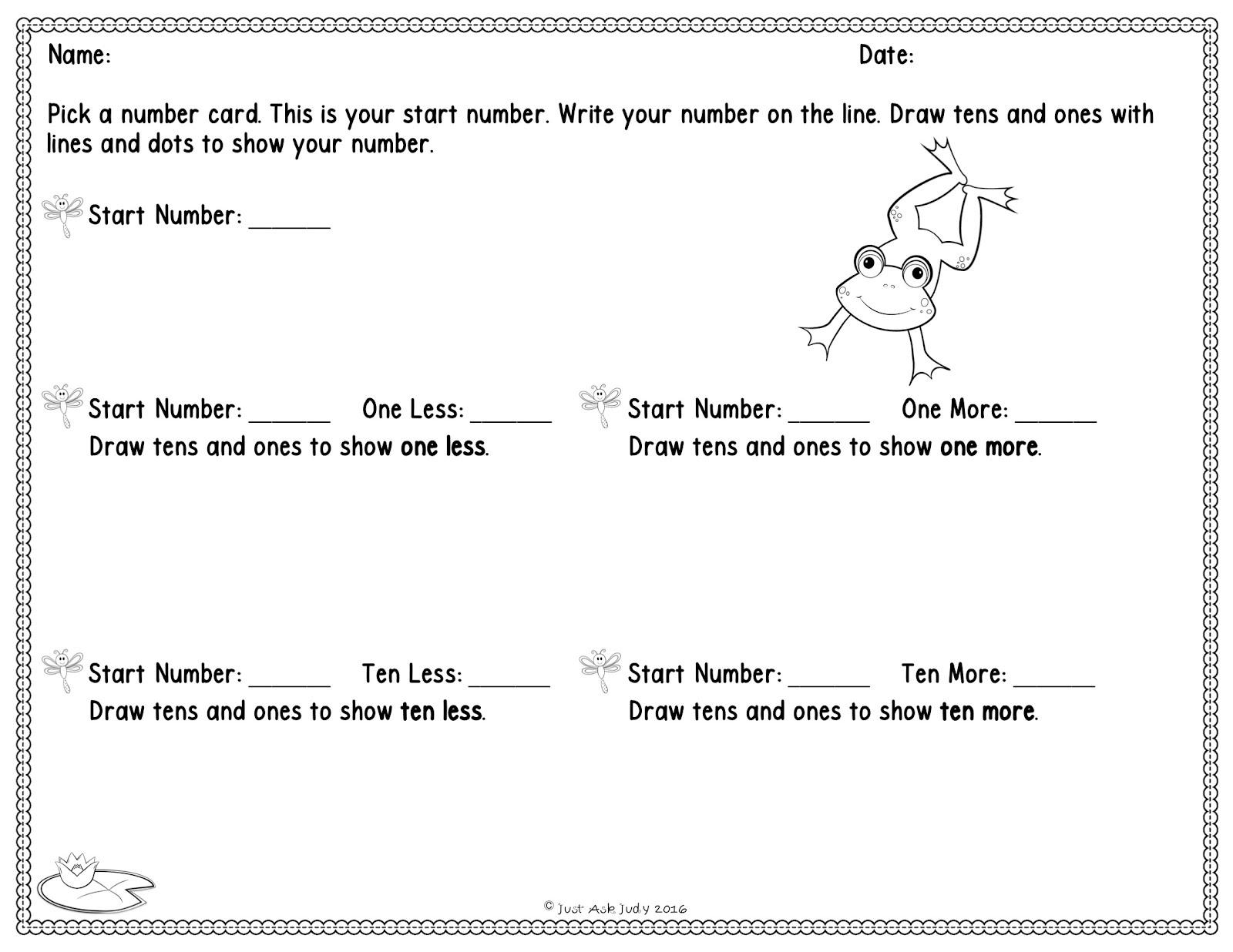 Just Ask Judy S Teaching Resources How To Develop Understanding Of Ten Less Ten More Freebie